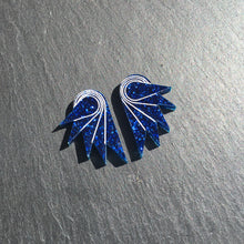 Load image into Gallery viewer, Jewellery STUDS / MINI SPREAD YOUR WINGS I NAVY BLUE Navy Blue Glittery Wings | Stud or Clip-on Statement Earrings | MAINE+MARA Shop
