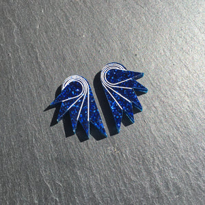 Jewellery STUDS / MINI SPREAD YOUR WINGS I NAVY BLUE Navy Blue Glittery Wings | Stud or Clip-on Statement Earrings | MAINE+MARA Shop