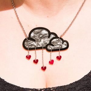 Jewellery WHITE LOVE RAIN CLOUD NECKLACE White Love Rain Cloud and Heart Necklace | Statement Necklace | MAINE+MARA Shop