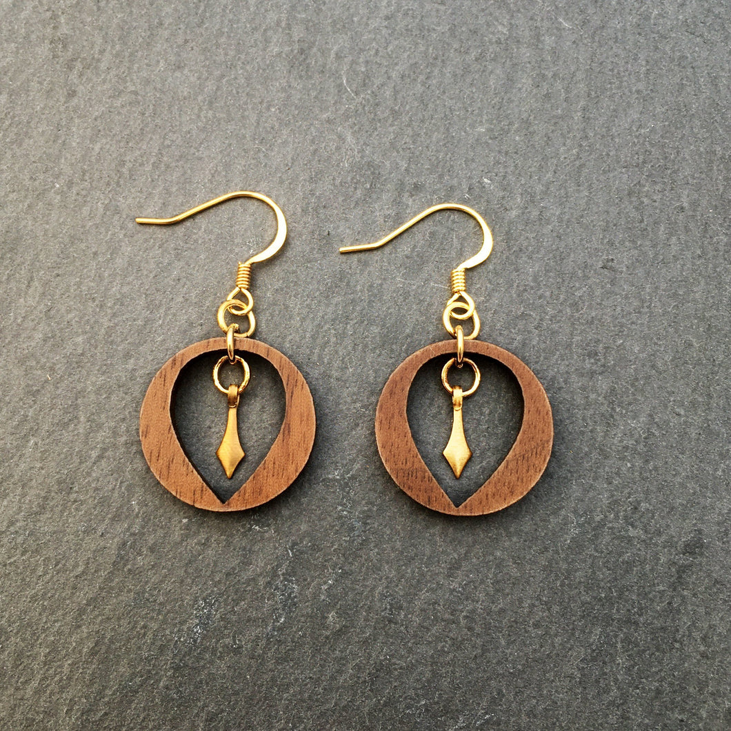 Jewellery WOOD HANGING OUT HERE DANGLE EARRINGS Hanging out here dangles with brass pendant | Meaningful Statement Earrings | MAINE+MARA Shop