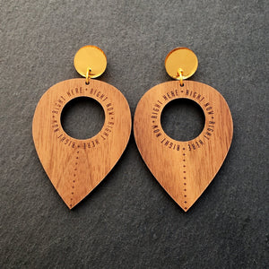 Jewellery WOOD RIGHT HERE, RIGHT NOW DANGLES RIGHT HERE RIGHT NOW DANGLES | Meaningful Statement Earrings | MAINE+MARA Shop
