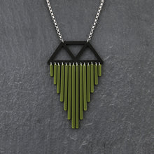 Load image into Gallery viewer, necklace OLIVE / SHORT (35CM) COLOUR POP I CHIMES NECKLACE Colour Pop Chimes Pendant | Statement Necklaces | MAINE+MARA Shop