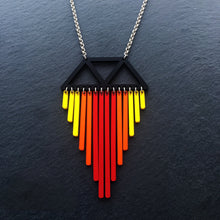 Load image into Gallery viewer, necklace PHOENIX / LONG 45CM BOLD BIRDS CHIMES I NECKLACE Unique Bold Colourful Pendant |  Statement Necklaces | MAINE+MARA Shop