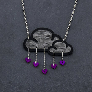 necklace PURPLE LOVE RAIN I NECKLACE Love Rain Cloud and Heart Necklace | Statement Necklace | MAINE+MARA Shop