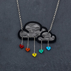 necklace RAINBOW LOVE RAIN I NECKLACE Love Rain Cloud and Heart Necklace | Statement Necklace | MAINE+MARA Shop