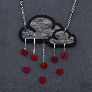 necklace RED LOVE RAIN I NECKLACE Love Rain Cloud and Heart Necklace | Statement Necklace | MAINE+MARA Shop