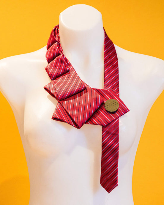 Scarf CHERRY STRIPE I  Upcycled Statement Necklace CHERRY STRIPE  | Red + Burgundy Upcycled Statement Necklace | MAINE+MARA Shop
