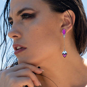 Earrings THE ATHENA I Silver and Purple Stackable Earrings THE ATHENA I Silver and Rose Gold Customisable Earrings I Handmade in Australia