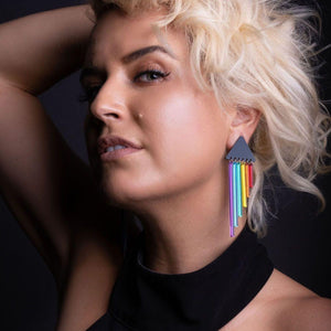 Earrings RAINBOW CHEEKY CHIMES RAINBOW CHEEKY CHIMES I  Lightweight Rainbow Earrings I Handmade Pride Earring