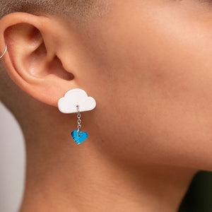 earrings LOVE RAINDROPS LOVE RAINDROPS Cloud and Heart Earrings | Statement Studs | MAINE+MARA Shop