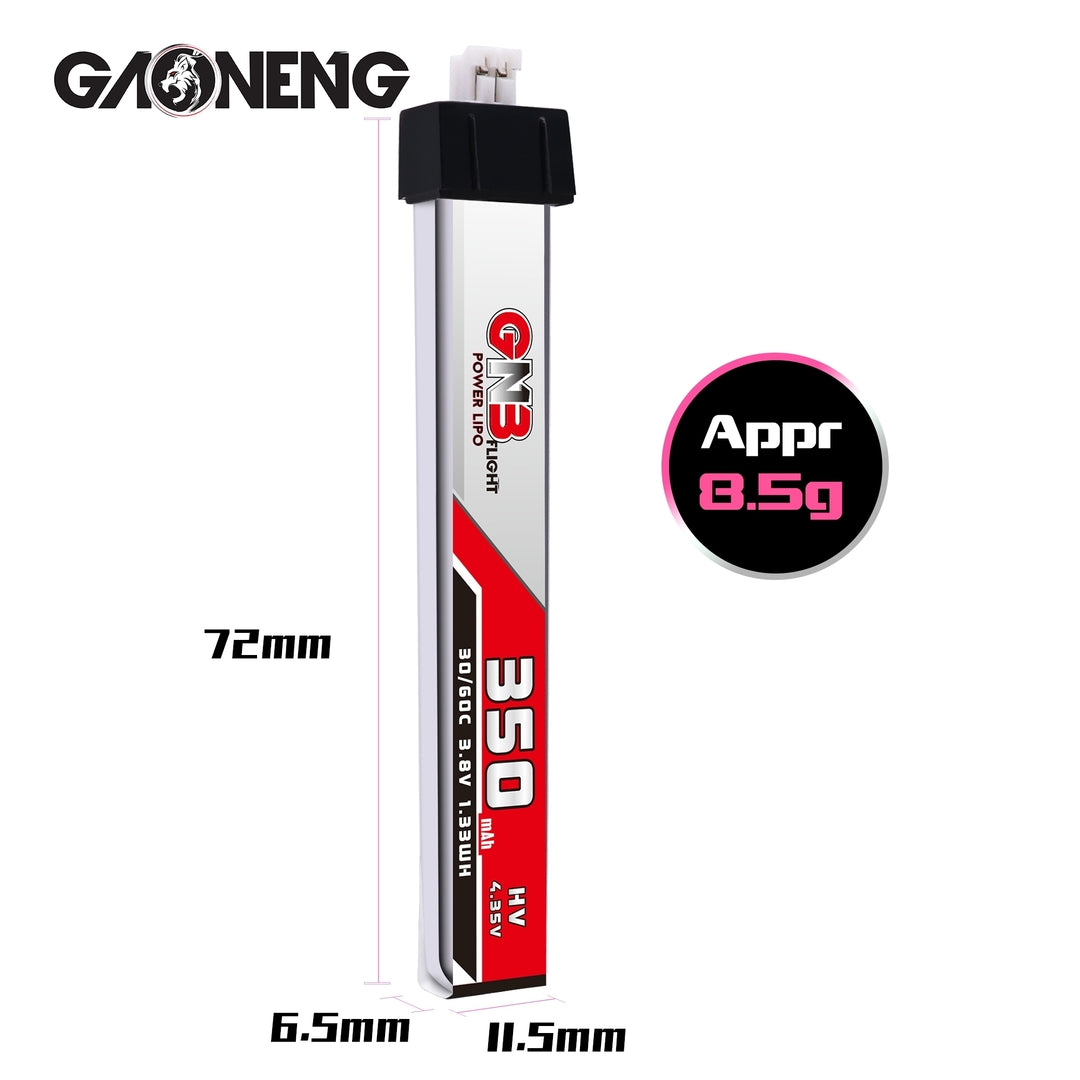 GNB 1S 350mah 30C HV PH2.0 Lipo Battery