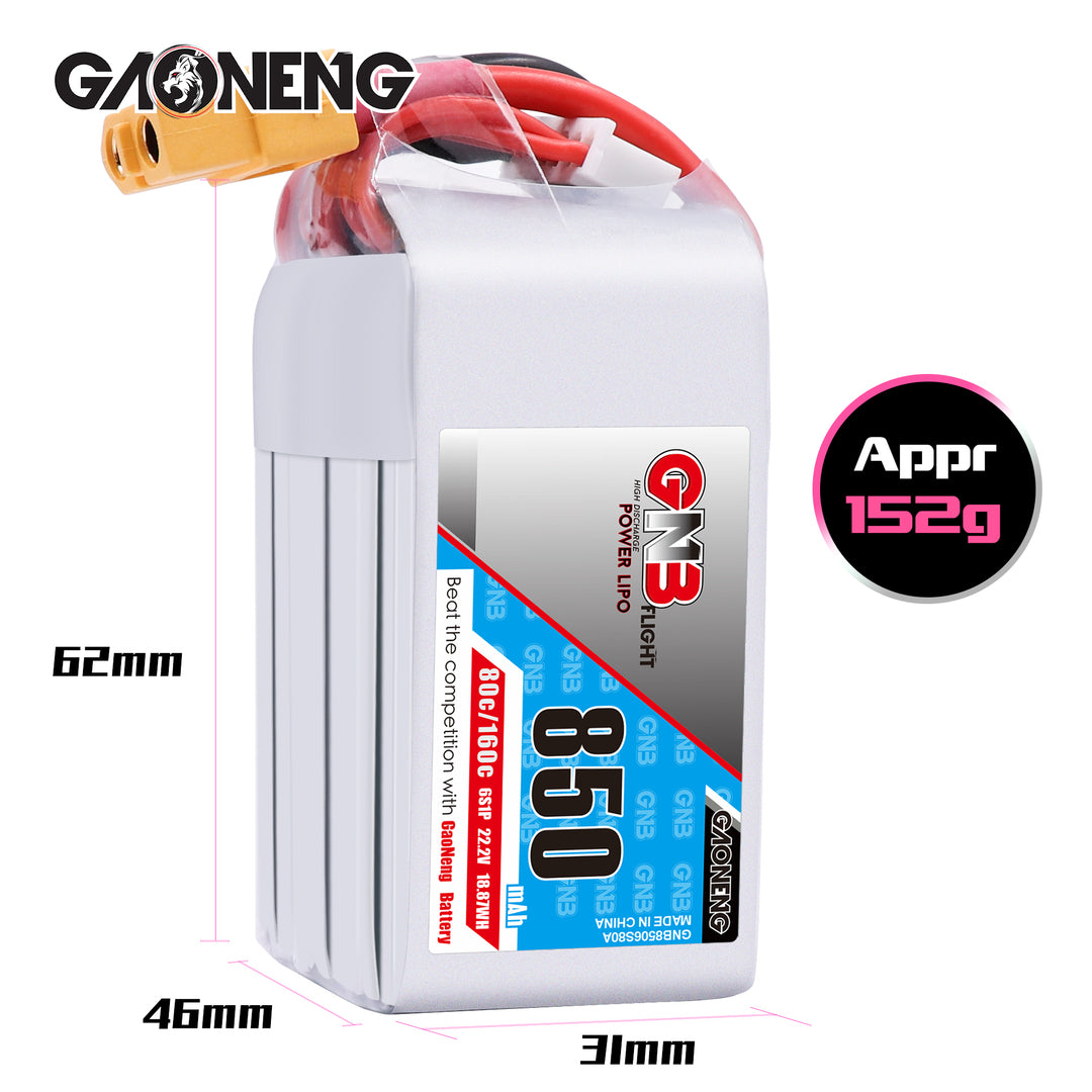 GNB 6S 850mah 80C XT60 Lipo Battery