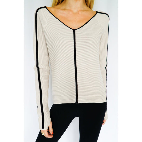 Portoia V Neck Sweater - Blanc Noir