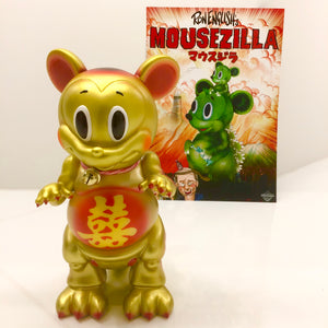 CRIMSON RED color POPAGANDA Ron English x BlackBook Toy x shina 招福 MOUSEZILLA Fortune Cat Gold sofvi ロンイングリッシュ マウスジラ  ソフビ