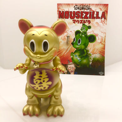 PURPLE HAZE color POPAGANDA Ron English x BlackBook Toy x shina 招福 MOUSEZILLA Fortune Cat Gold sofvi ロンイングリッシュ マウスジラ  ソフビ