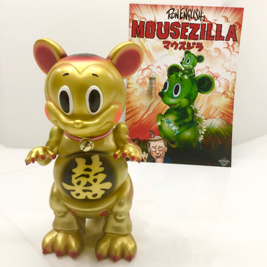 MIDNIGHT BLACK color POPAGANDA Ron English x BlackBook Toy x shina 招福 MOUSEZILLA Fortune Cat Gold sofvi ロンイングリッシュ マウスジラ  ソフビ