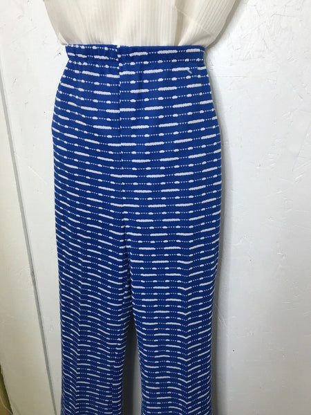 VTG Blue Polyester Bell Bottoms 70s High Waist Hippie Disco Party Pants M L 12