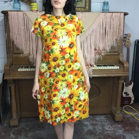 Vintage 60s 70s | Orange & Yellow Mod Sunflower GoGo Groovy Mini Dress | M/L