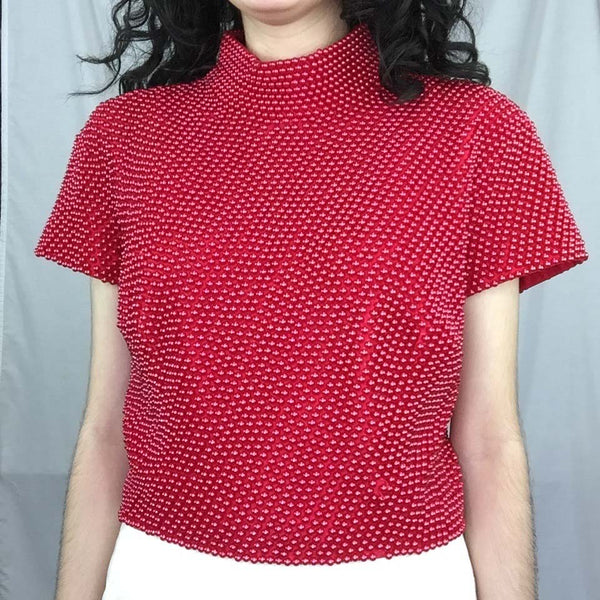 Vintage 90s | Cache Red Pearl Beaded Top Party Blouse Crop Top | Size M