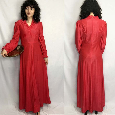Vintage 60s 70s | Red Ruffle Neck MOD Groovy Boho Hippie Maxi Dress | XS