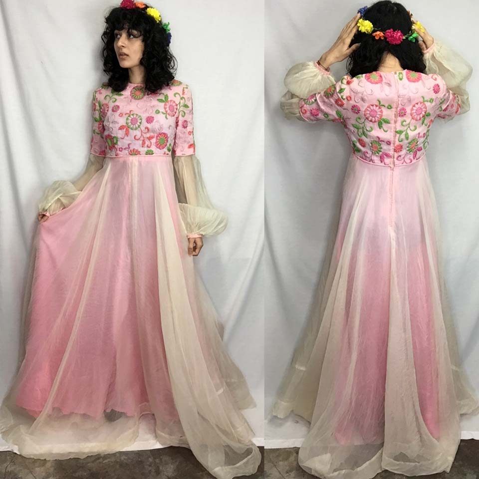 Vintage 60s | Embroidered Pink Sheer Poet Sleeve Empire Waist Mod Maxi Dress | S