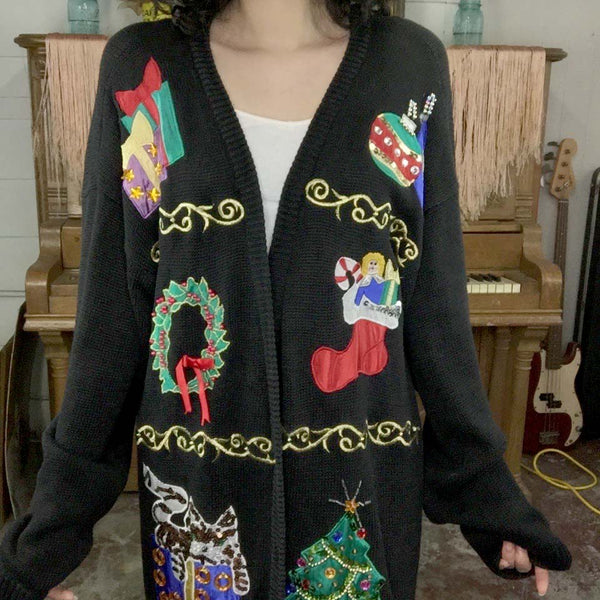 Vintage | Patchwork Christmas Sweater Cardigan | Woman's Size L