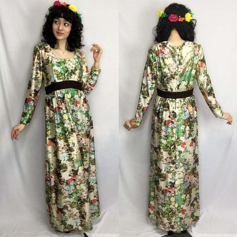 Vintage 70s | Psychedelic Floral MOD Groovy Boho Hippie Maxi Dress | S