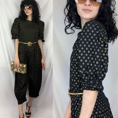 Vintage 80s 90s | Boho Puff Pouf Sleeve Jumpsuit One Piece Playsuit Pantsuit | M
