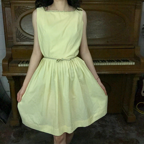 Vintage 50s 60s | MOD Yellow Fit & Flare Cotton Dress | Size M