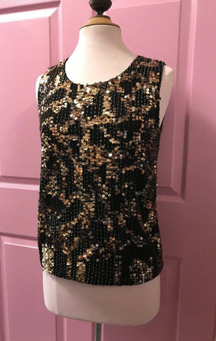VTG Vintage Silver Gold Sequin Beaded Glam Disco Retro Party Top Blouse Sz 1