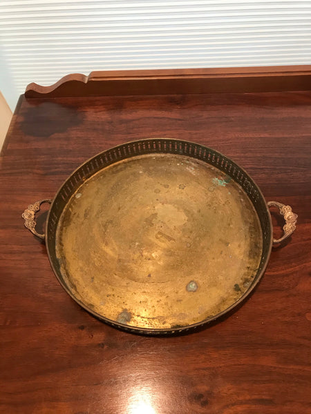 Vintage | Large Solid Brass Floral-Handled Tray
