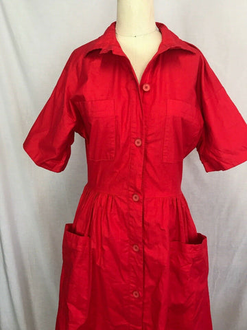 Vintage 50s Red Cotton Shirt Dress Full Swing Skirt Pin Up Button Down Day Dress