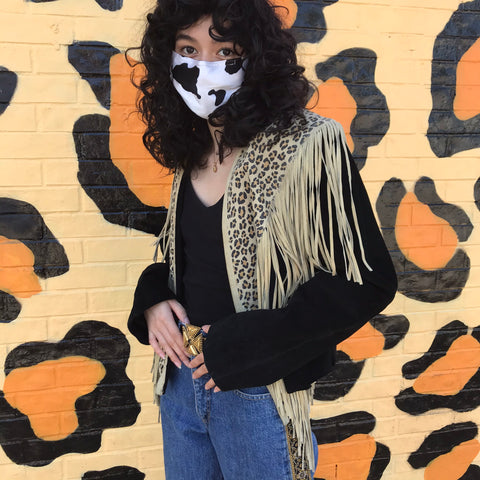 Vintage 80s 90s | Cropped Leopard Print Leather Jacket with Fringe Western | XL