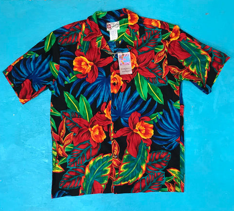Vintage Hilo Hattie Mens Hawaiian Tiki Vacation Shirt Size M