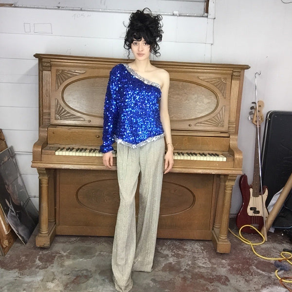 VTG Dance Costume Disco Glam Rock Bowie Sequin Top One Sleeve Blue Silver XXL