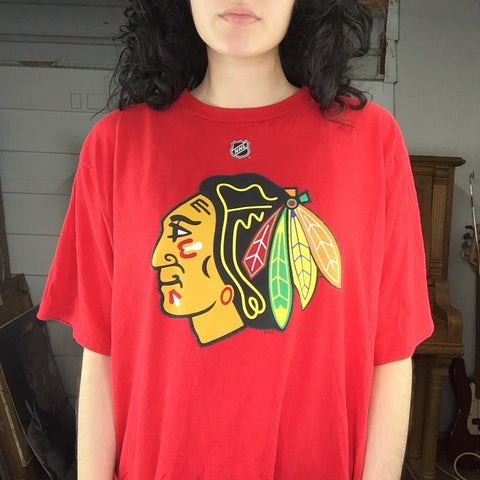 Streetwear REEBOK Chicago Blackhawks T-Shirt Indian Chief NHL Hockey | Size L