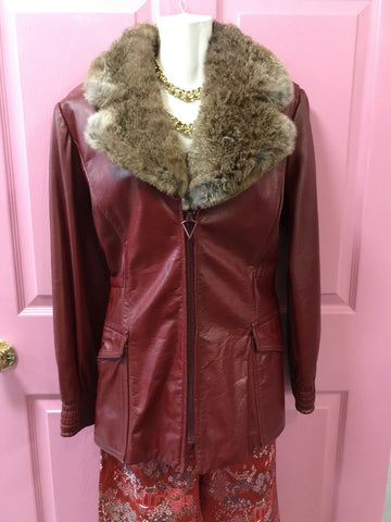VTG Vintage Retro 70s Red Leather Fur Trim Jacket Boho Rocker Glam