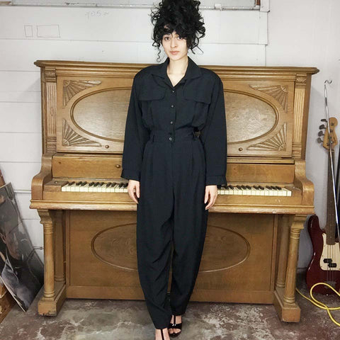 Vintage 80s 90s | Boho Black Jumpsuit One Piece Playsuit Pantsuit | Size M