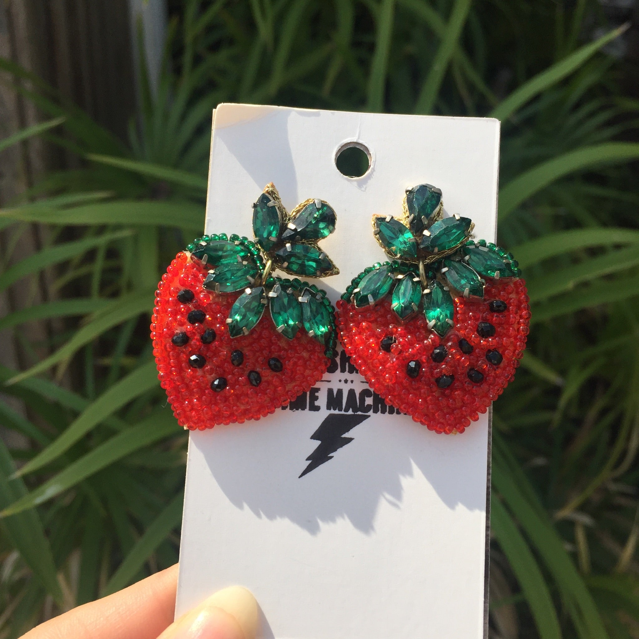 Strawberry | Retro Kitschy Kawaii | Beaded Crystals Stud Statement Earrings