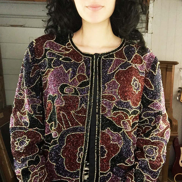 Vintage | All Beaded Floral Design Evening Jacket | Size M
