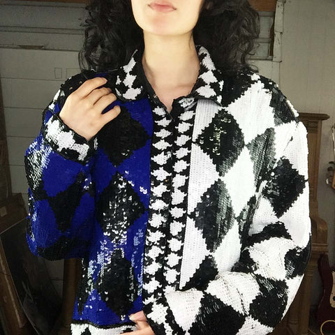 Vintage | Sequined and Beaded Geometric Evening Jacket | Size 10/12