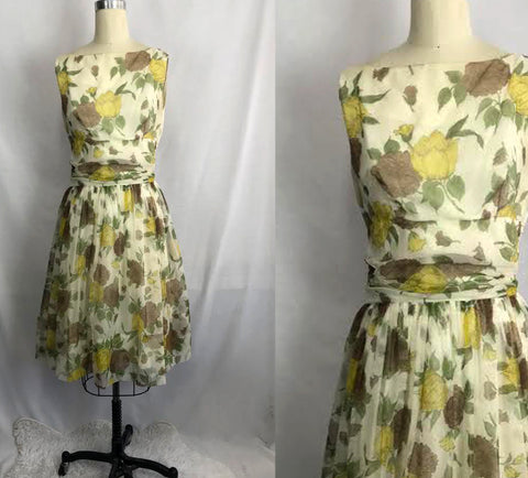 1950s Floral Full Chiffon Overlay Skirted Swing Dress Cocktail Party Prom Dress ML