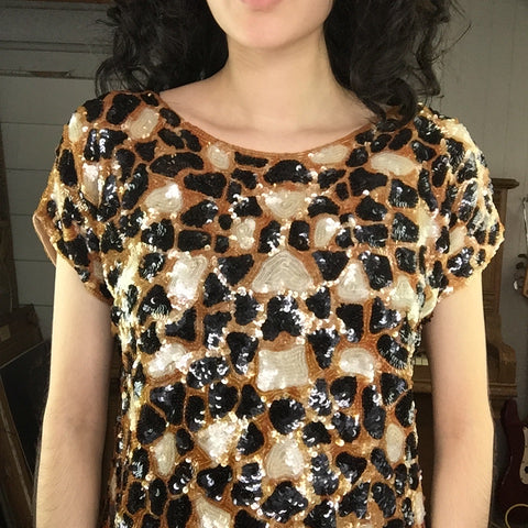 Vintage | Short Sleeve Fully Sequined Leopard Print Top | Size Not Known