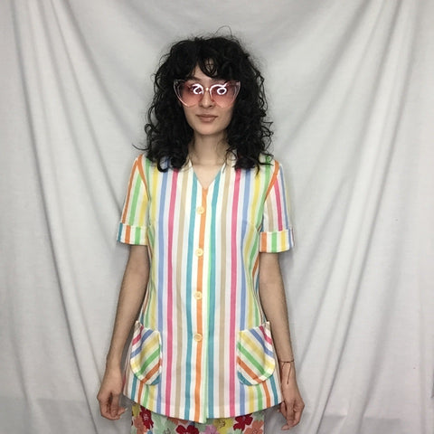 Vintage 60s 70s | Rainbow Striped Polyester Novelty Shirt Top Mod Boho Blouse M