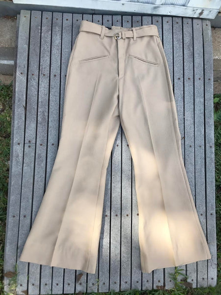 Vintage 70s | Groovy Bellbottom Tan Suit Retro Two Piece Menswear