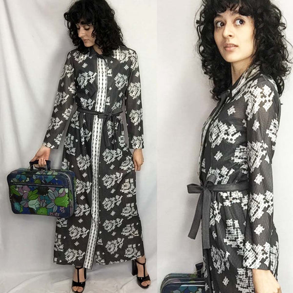 Vintage 70s | Retro Brown Belted Groovy Floral MOD Boho Hippie Maxi Dress | S/M