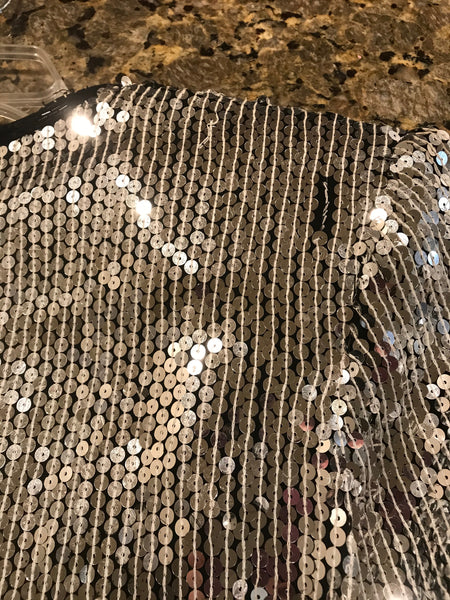 Vintage | Papell Boutique Silver Sequin with Black Bead Trim Short Jacket | No Size