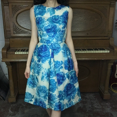 Vintage 50s 60s | MOD Blue Floral Wiggle Party Dress | Size XS