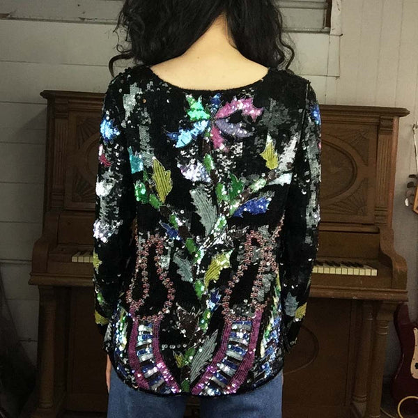 Vintage | Fully Sequined Beaded Fun Floral Tunic Style Top | Size XS