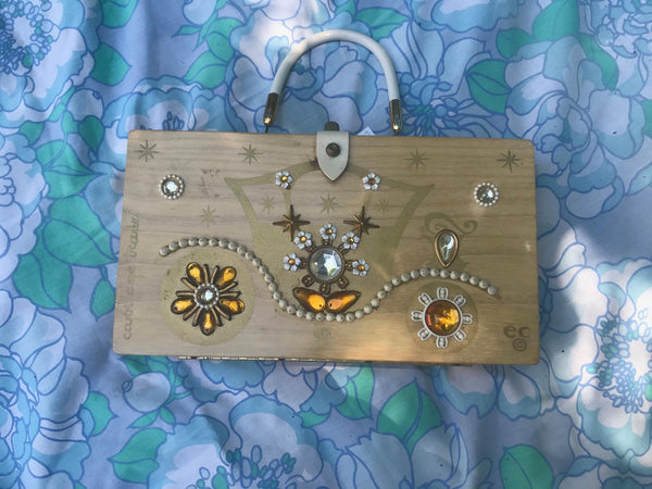 VTG 60s | Enid Collins Box Purse Jeweled Folk Art Mid Century Carriage Trade